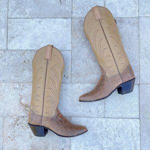 Vintage Tony Lama Exotic Snakeskin Cowboy Boot 5.5